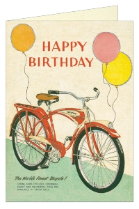 CARTE POSTALE DOUBLE + ENVELOPPE CAVALLINI HAPPY BIRTHDAY BICYCLETTE