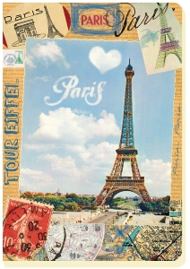 CARNET EIFFEL KRAFT  A5 15 X 21 192 PAGES IVOIRES LIGNEES ROUGE