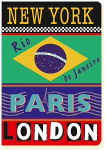CARNET NY PARIS RIO 15 X 21 192 PAGES IVOIRES LIGNEES ROUGE