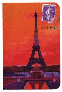 CARNET TOUR EIFFEL ROUGE A6 10 X 15 160 PAGES IVOIRES LIGNEES ROUGES