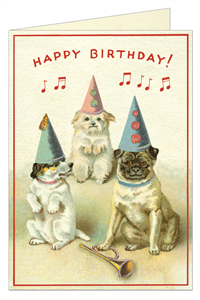 CARTE POSTALE DOUBLE + ENVELOPPE CAVALLINI HAPPY BIRTHDAY CHIENS2