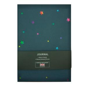A5 CARD COVER NOTEBOOK IN NAVY WITH RED INTERIOR WITH STARS DESIGN IN MULTI COLO
