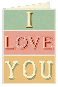 CARTE POSTALE DOUBLE + ENVELOPPE CAVALLINI I LOVE YOU