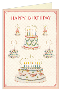 CARTE POSTALE DOUBLE + ENVELOPPE CAVALLINI HAPPY BIRTHDAY CAKE2