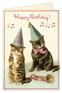 CARTE POSTALE DOUBLE + ENVELOPPE CAVALLINI HAPPY BIRTHDAY CHAT