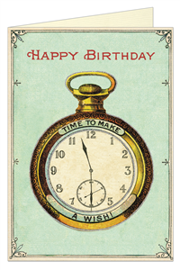 CARTE POSTALE DOUBLE + ENVELOPPE CAVALLINI HAPPY BIRTHDAY HORLOGE
