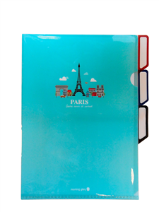 PORTE DOCUMENTS PLASTIQUE PARIS BLEU