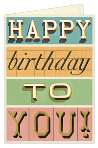 CARTE POSTALE DOUBLE + ENVELOPPE CAVALLINI HAPPY BIRTHDAY TYPOGRAPHIE