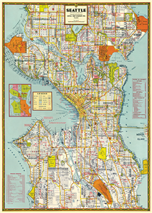 POSTER - PAPIER CADEAU CAVALLINI SEATTLE MAP