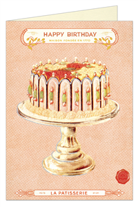 CARTE POSTALE DOUBLE + ENVELOPPE CAVALLINI HAPPY BIRTHDAY CAKE