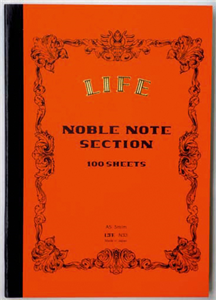 CARNET JAPONAIS LIFE ORANGE NOBLE NOTE DOS CARRE 148 X 210 MM - 200 PAGES