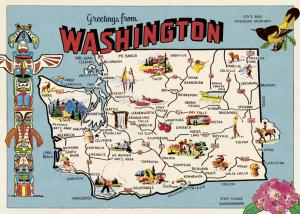 POSTER - PAPIER CADEAU CAVALLINI WASHINGTON MAP