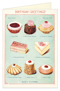 CARTE POSTALE DOUBLE + ENVELOPPE CAVALLINI HAPPY BIRTHDAY GATEAUX