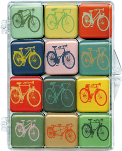 SET DE 12 MAGNETS BICYCLETTES VINTAGE