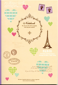 NOTE BOOK PARIS - 18X25 - 60 PAGES LIGNEES DOS VIOLET