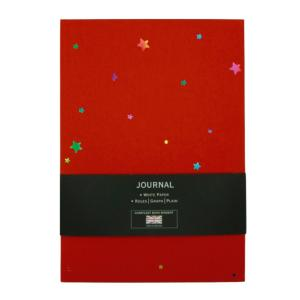 A5 CARD COVER NOTEBOOK IN RED WITH NAVY INTERIOR WITH STARS DESIGN IN MULTI COLO